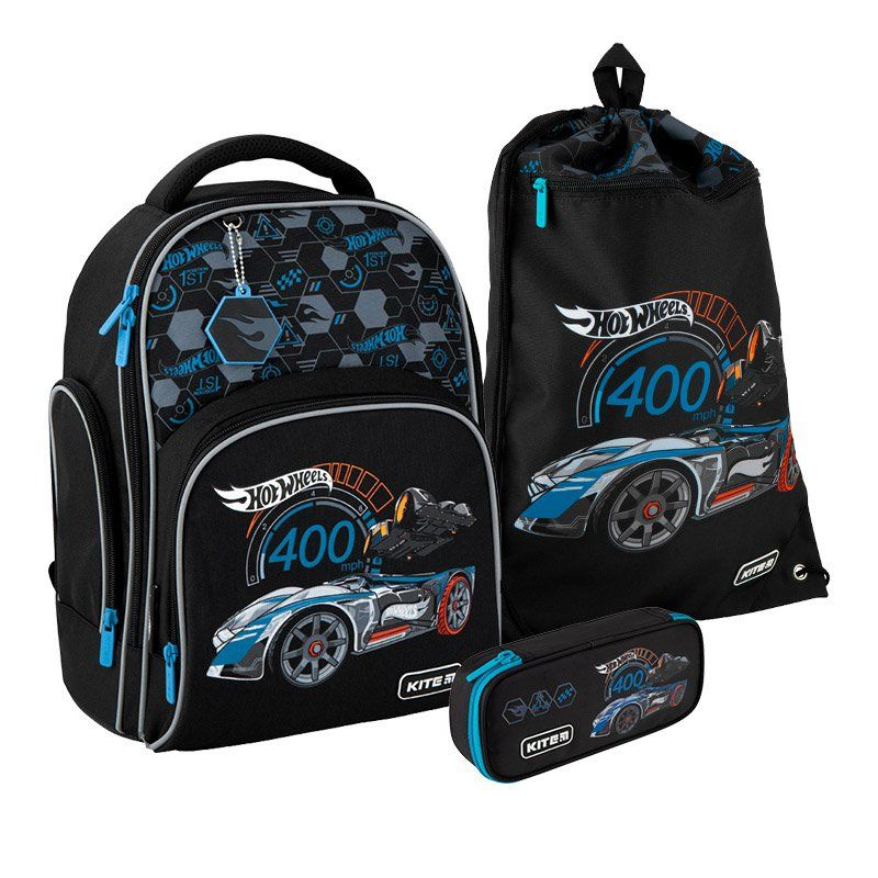 Набор рюкзак + пенал + сумка для обуви Kite Hot Wheels 706S - Компания Деварос